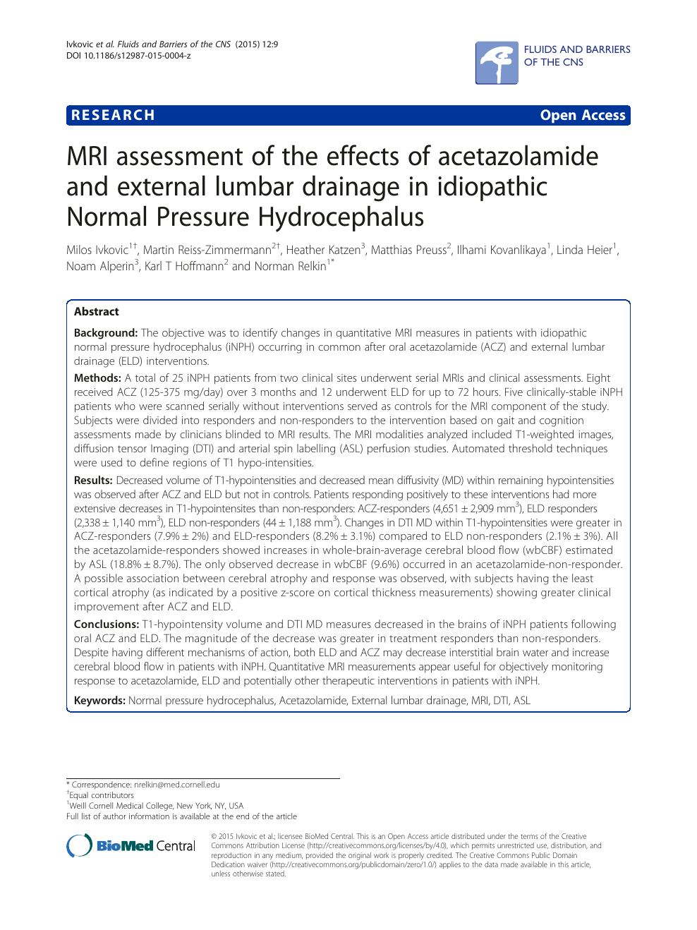MRI assessment of the effects of acetazolamide and external