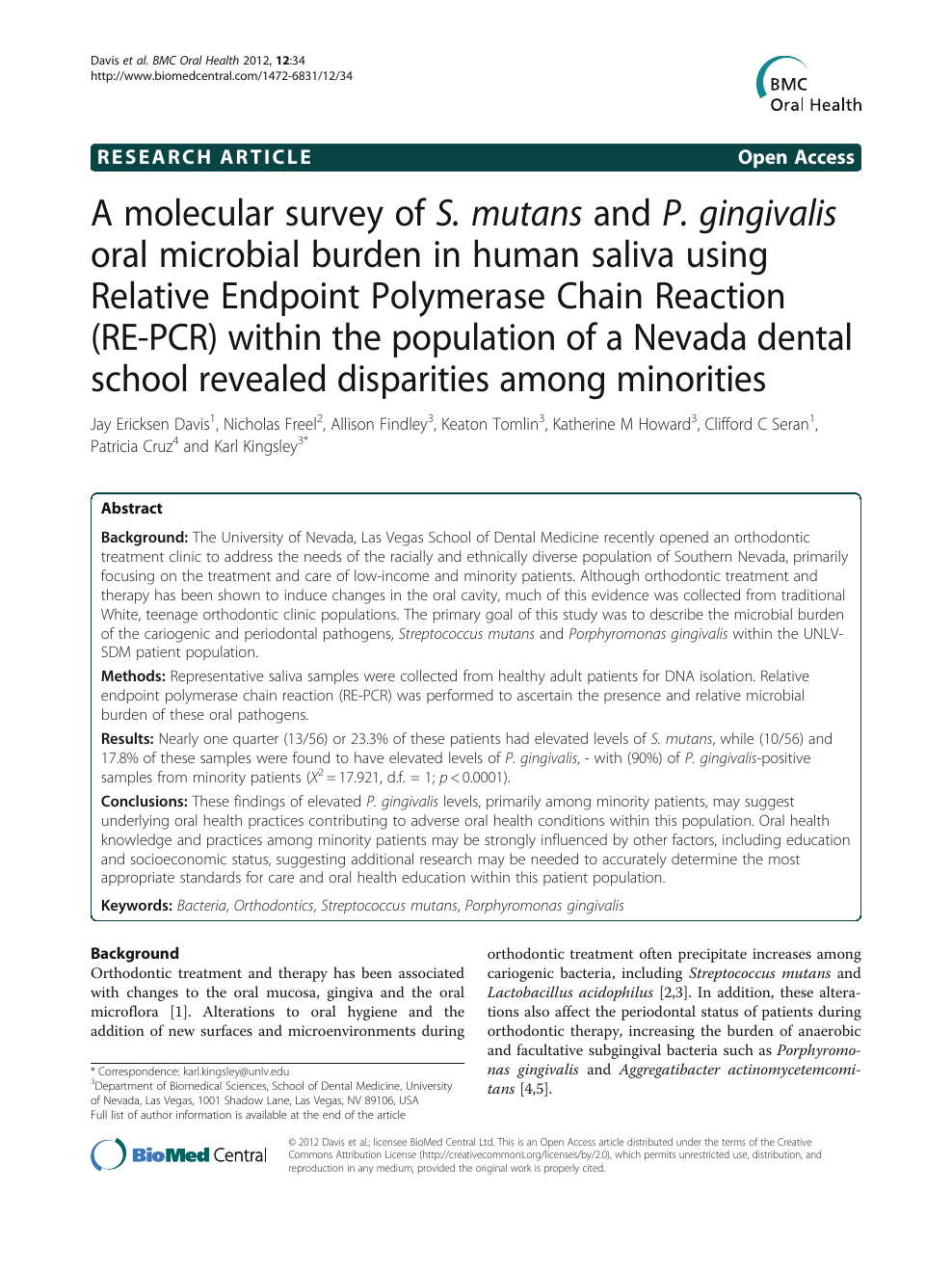A molecular survey of S  mutans and P  gingivalis oral