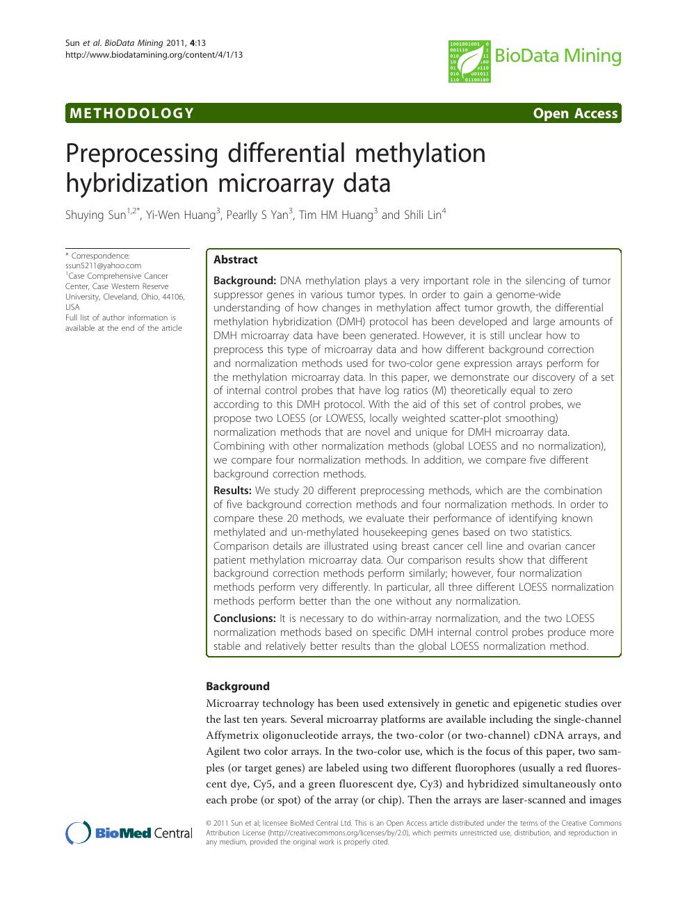 Preprocessing differential methylation hybridization
