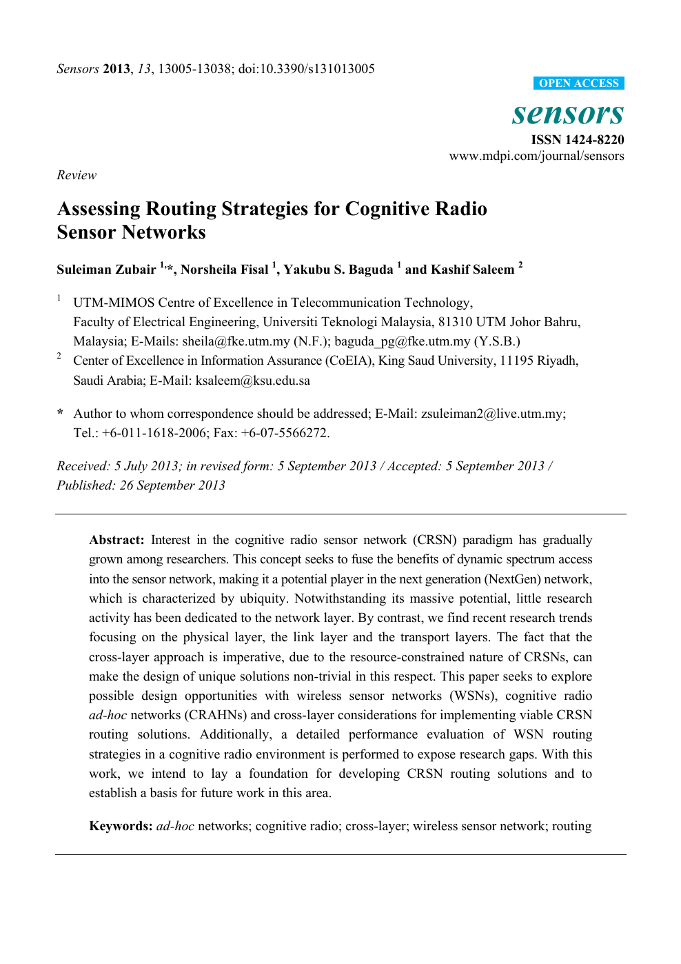 Assessing Routing Strategies for Cognitive Radio Sensor