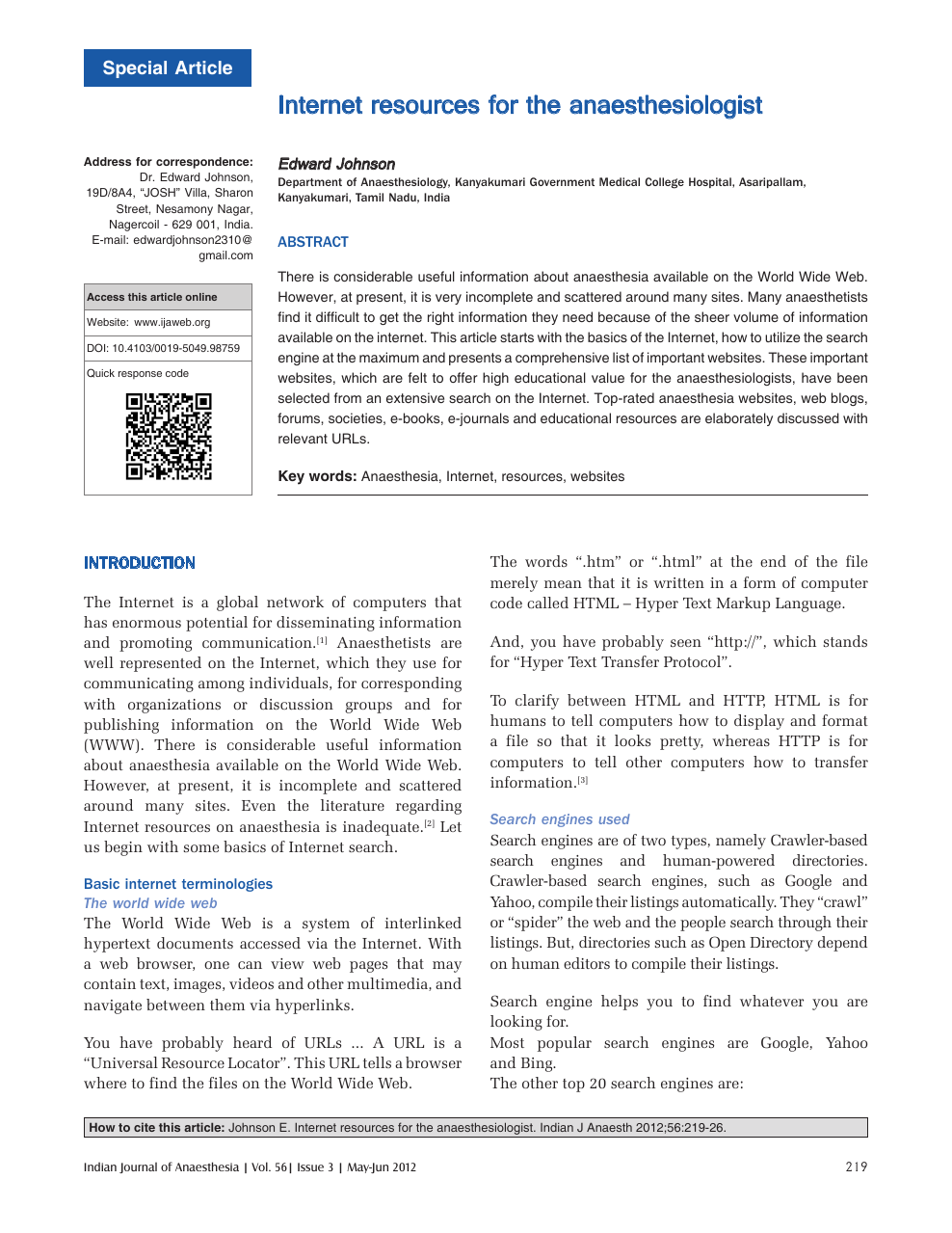 Internet resources for the anaesthesiologist – topic of