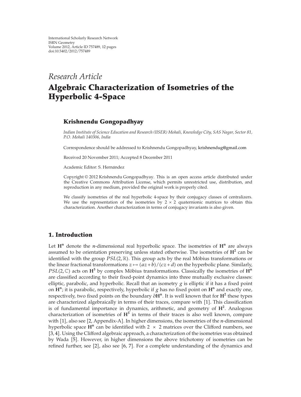 Algebraic Characterization of Isometries of the Hyperbolic 4-Space