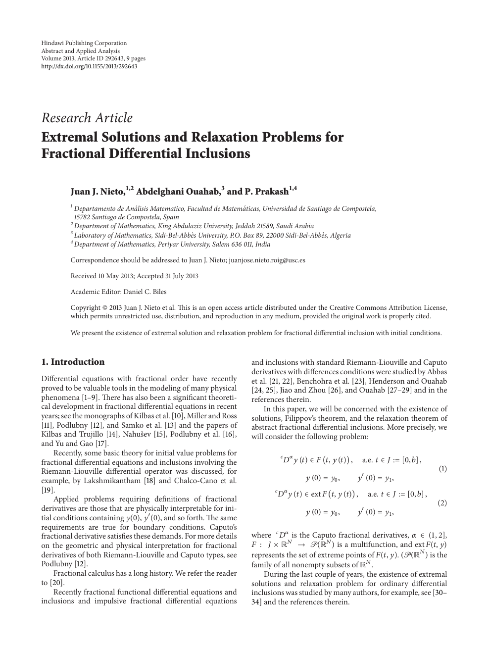 Extremal Solutions and Relaxation Problems for Fractional