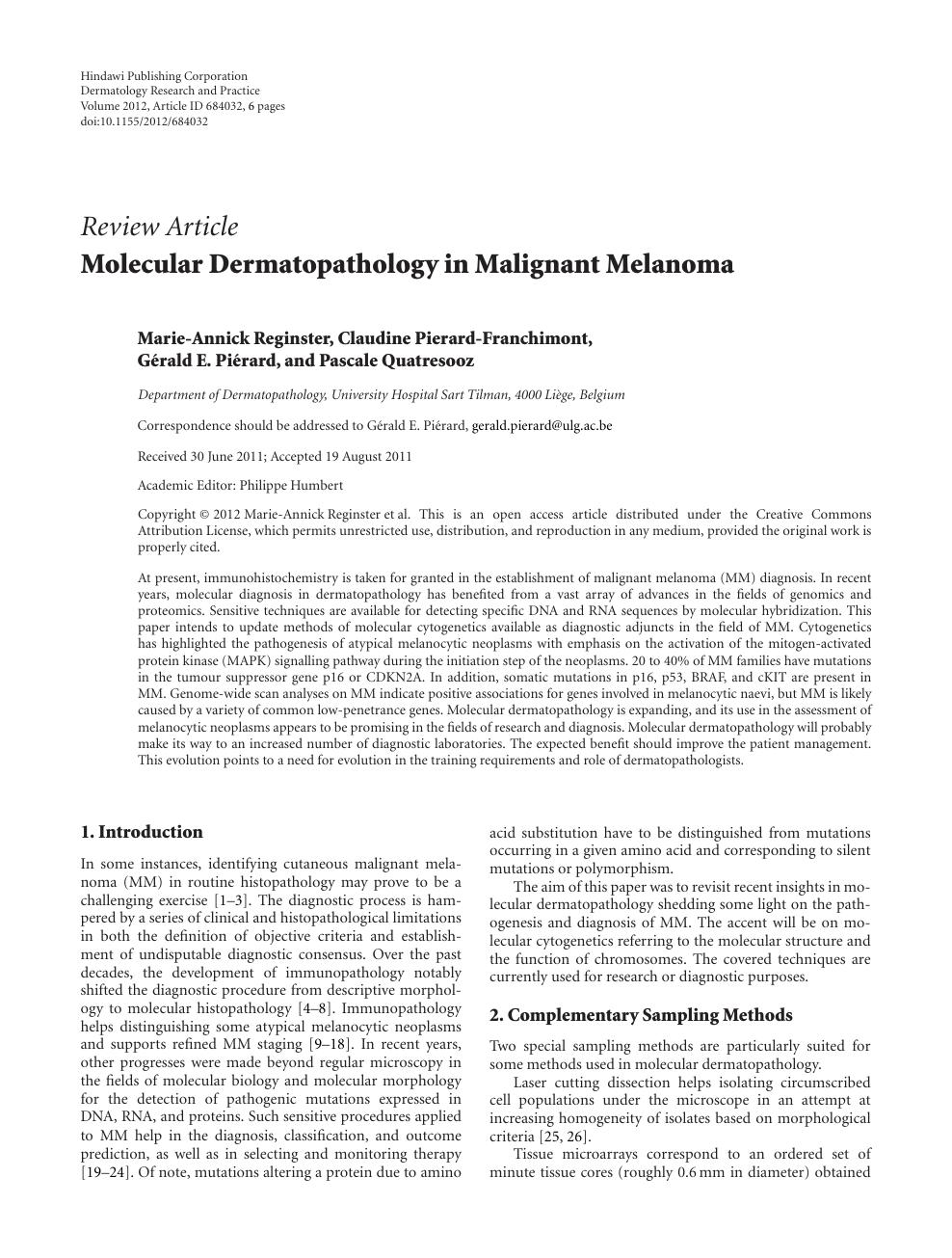 Molecular Dermatopathology in Malignant Melanoma – topic of