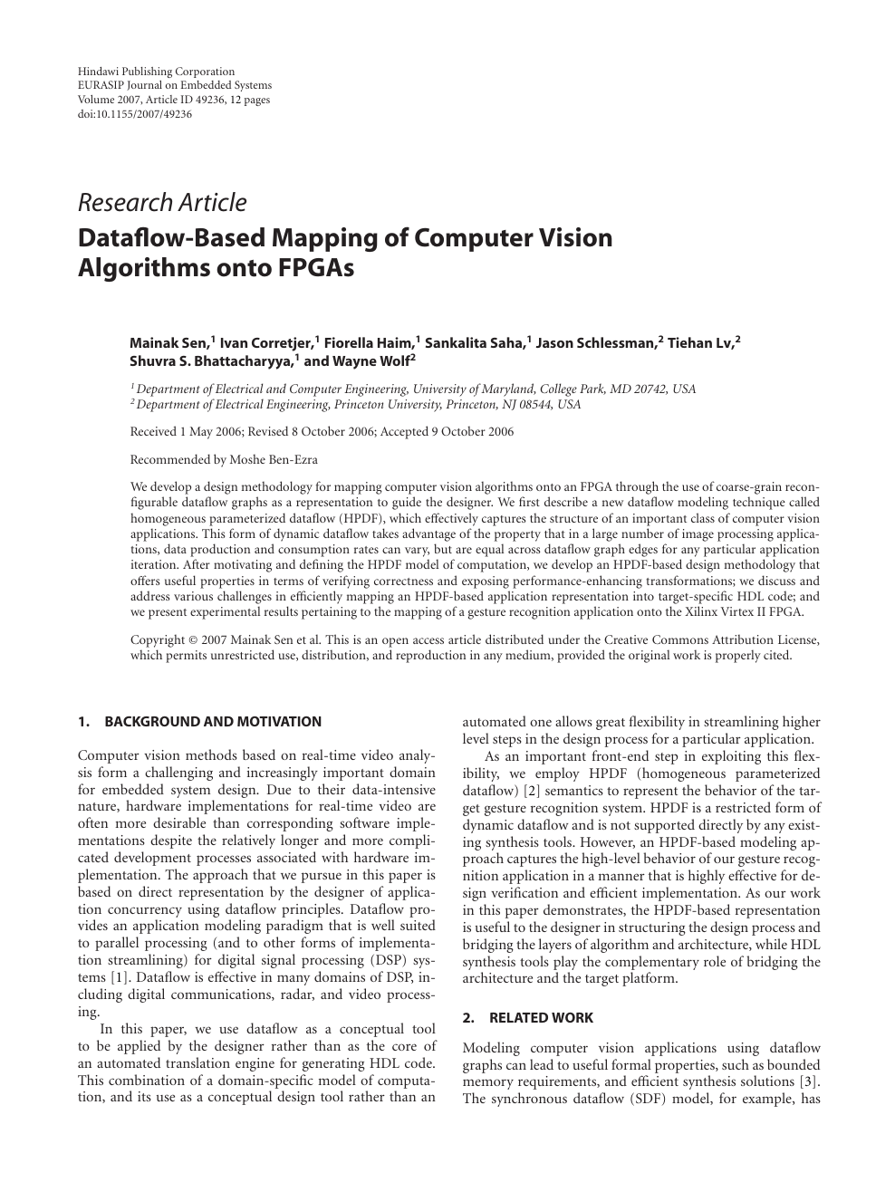 Dataflow Based Mapping Of Computer Vision Algorithms Onto Fpgas Topic Of Research Paper In Computer And Information Sciences Download Scholarly Article Pdf And Read For Free On Cyberleninka Open Science Hub