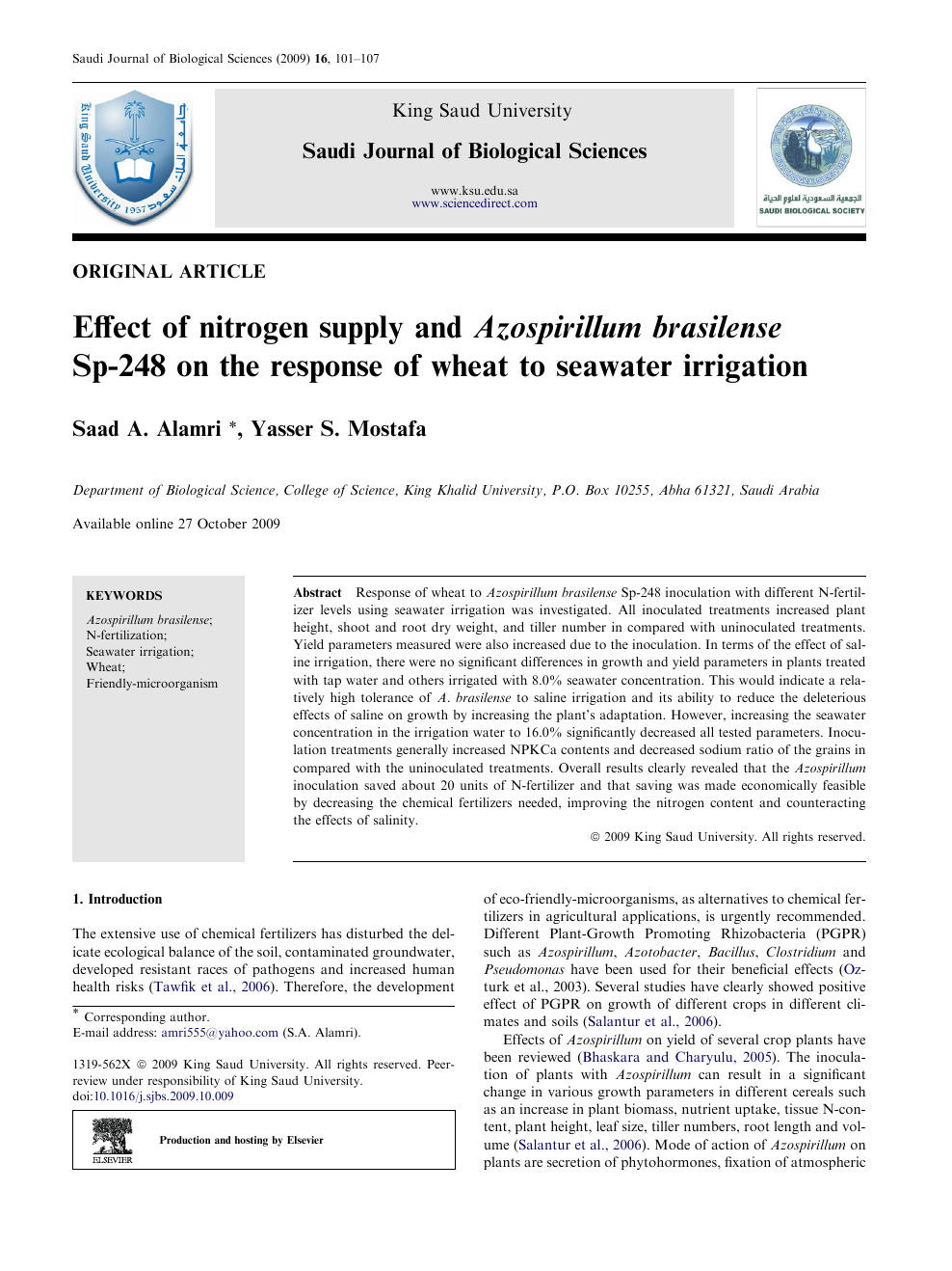 Effect of nitrogen supply and Azospirillum brasilense Sp-248