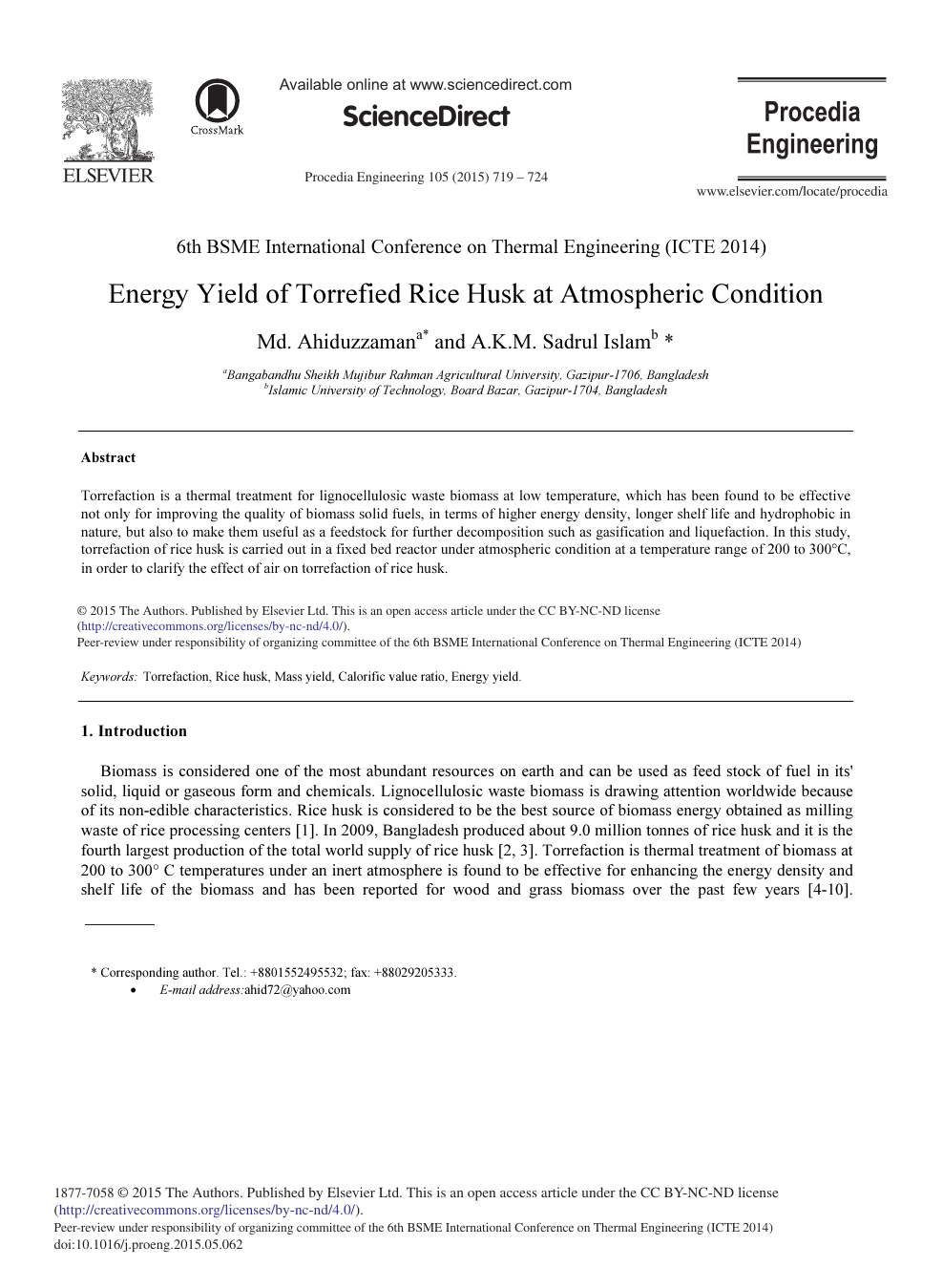 Energy Yield of Torrefied Rice Husk at Atmospheric Condition