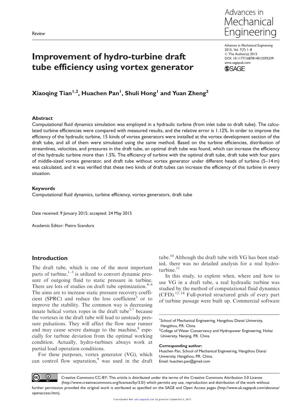 Improvement of hydro-turbine draft tube efficiency using