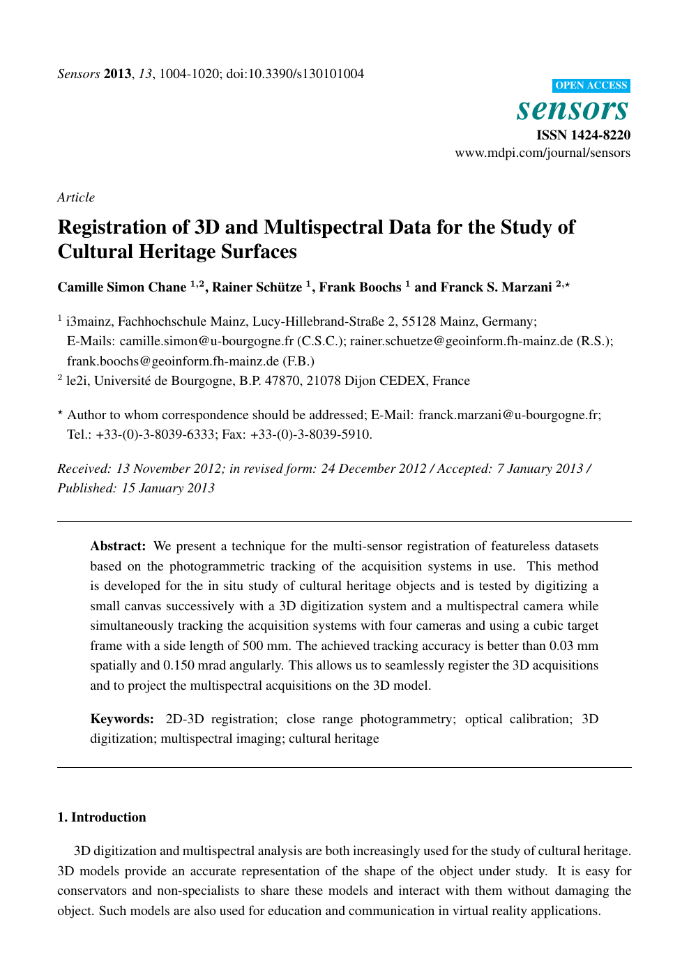 Registration of 3D and Multispectral Data for the Study of Cultural