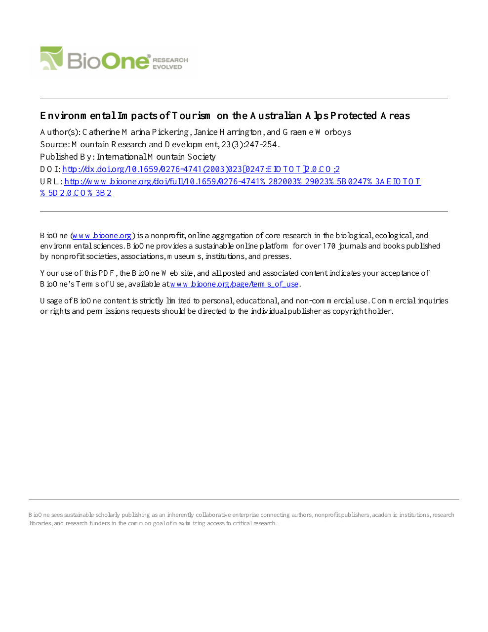 Environmental Impacts of Tourism on the Australian Alps