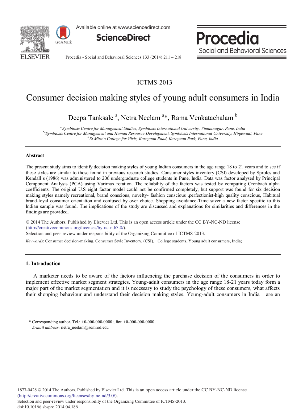 Consumer Decision Making Styles of Young Adult Consumers in