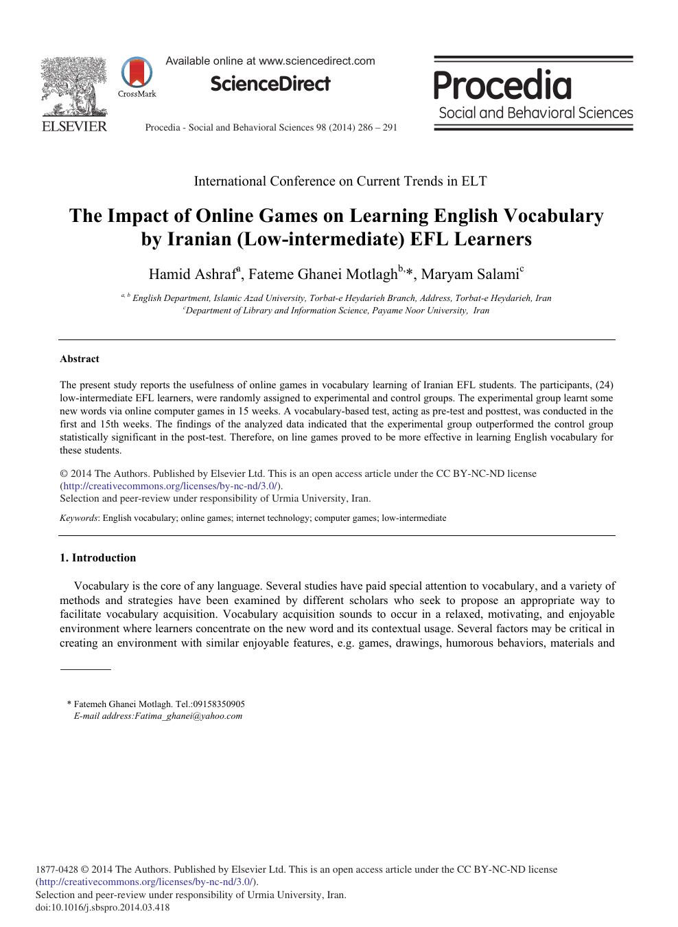 The Impact of Online Games on Learning English Vocabulary by Iranian