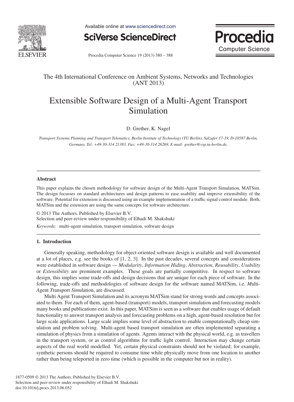 Extensible Software Design of a Multi-Agent Transport