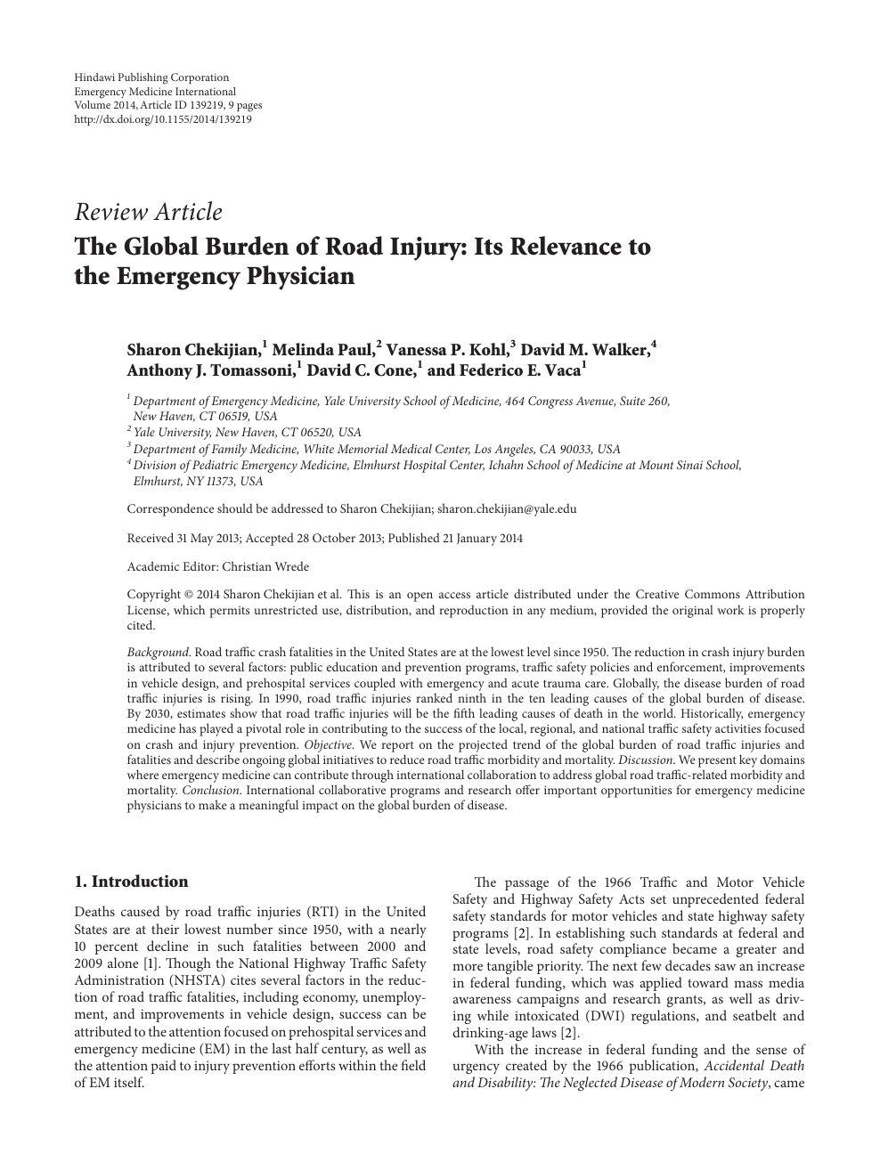The Global Burden of Road Injury: Its Relevance to the
