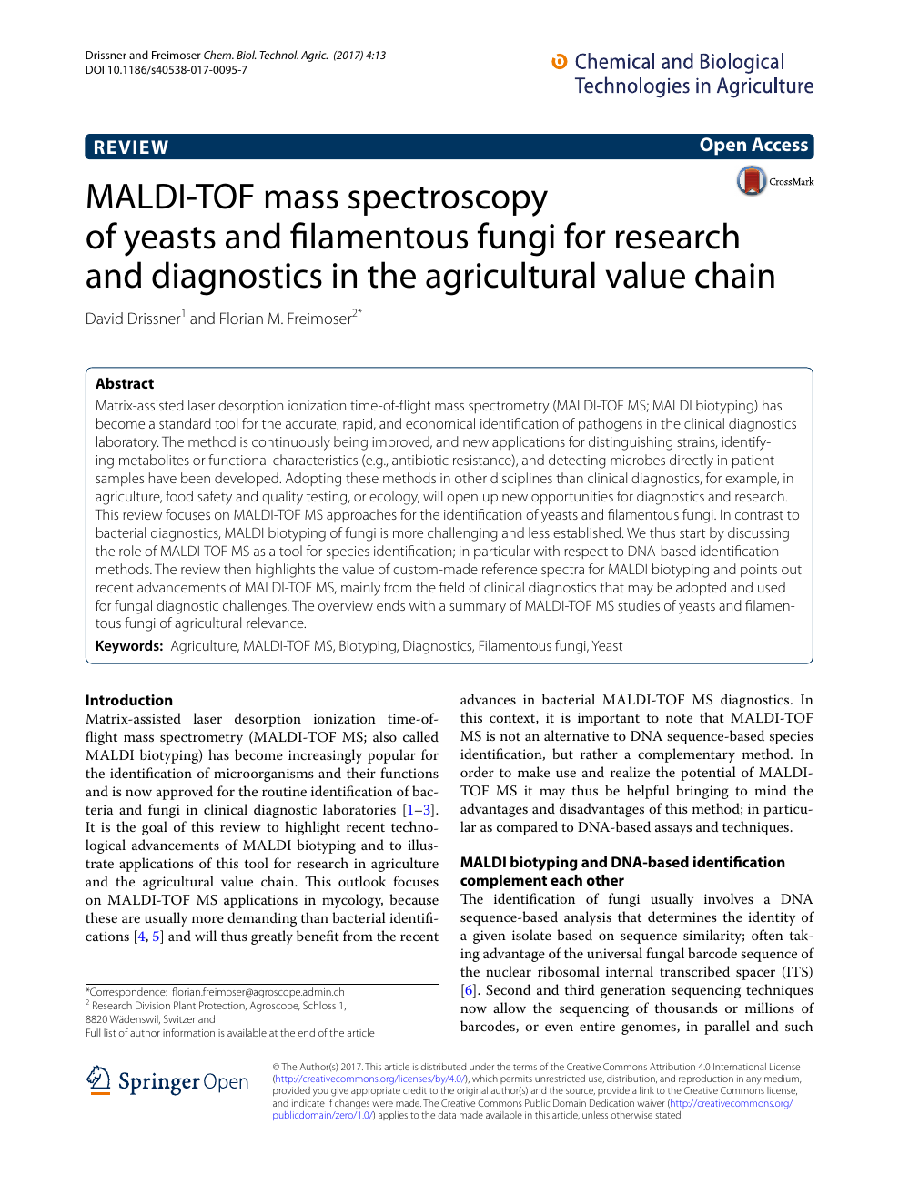 MALDI-TOF mass spectroscopy of yeasts and filamentous fungi for