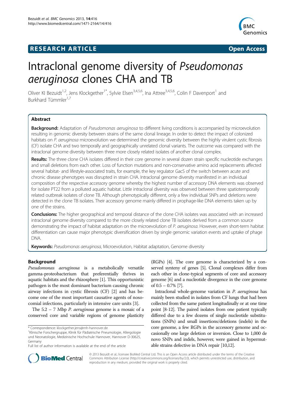 Intraclonal genome diversity of Pseudomonas aeruginosa clones CHA