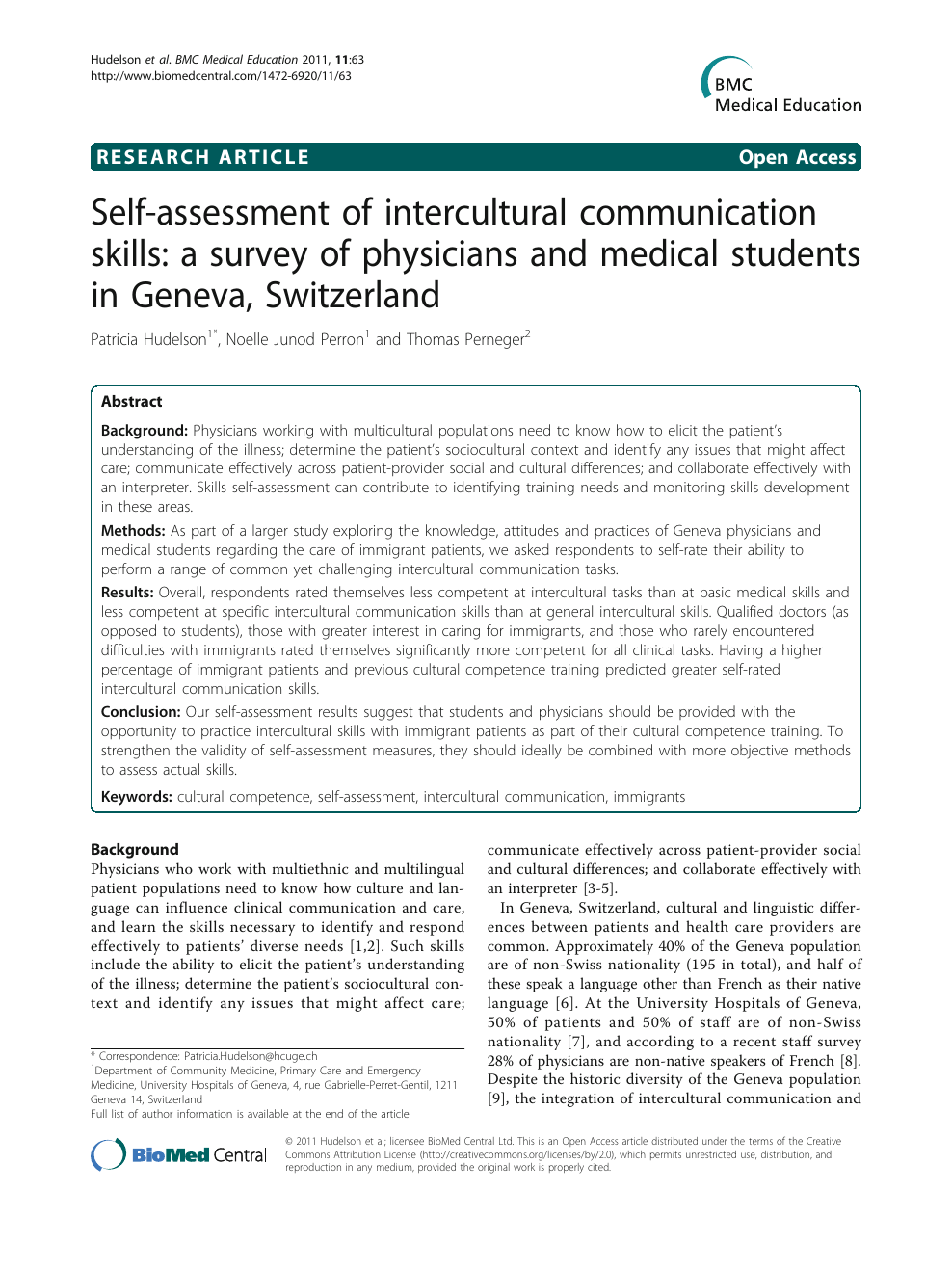 Self-assessment of intercultural communication skills: a