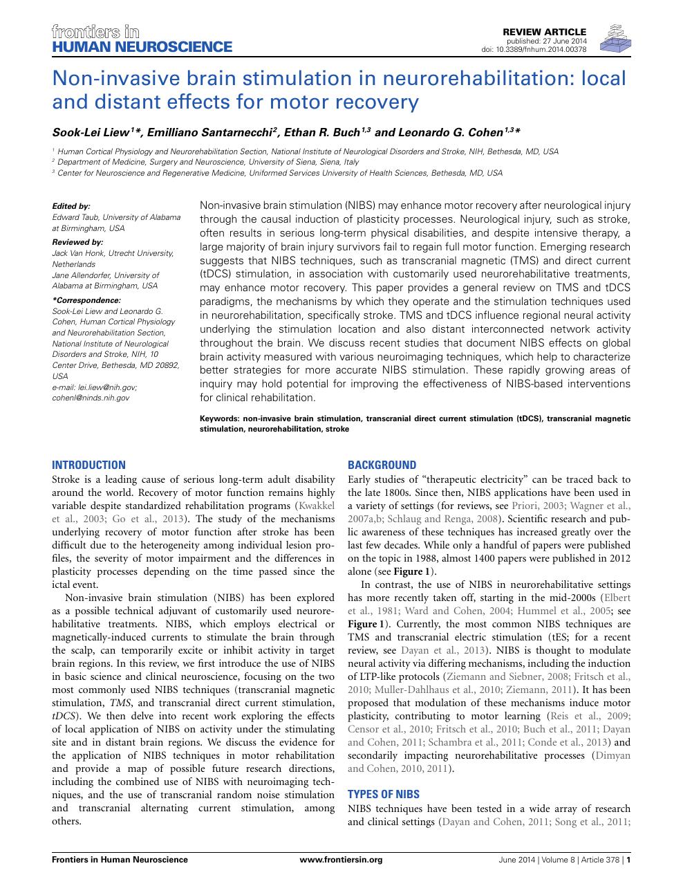 Non-invasive brain stimulation in neurorehabilitation: local and