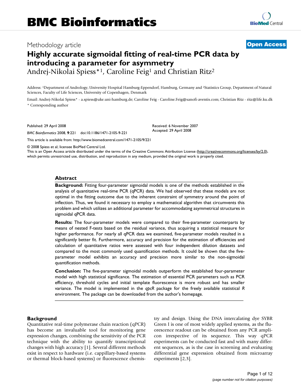 Highly accurate sigmoidal fitting of real-time PCR data by
