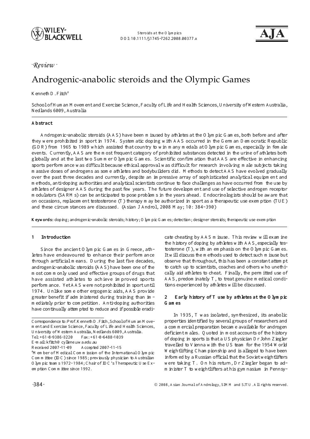 Steroids research paper