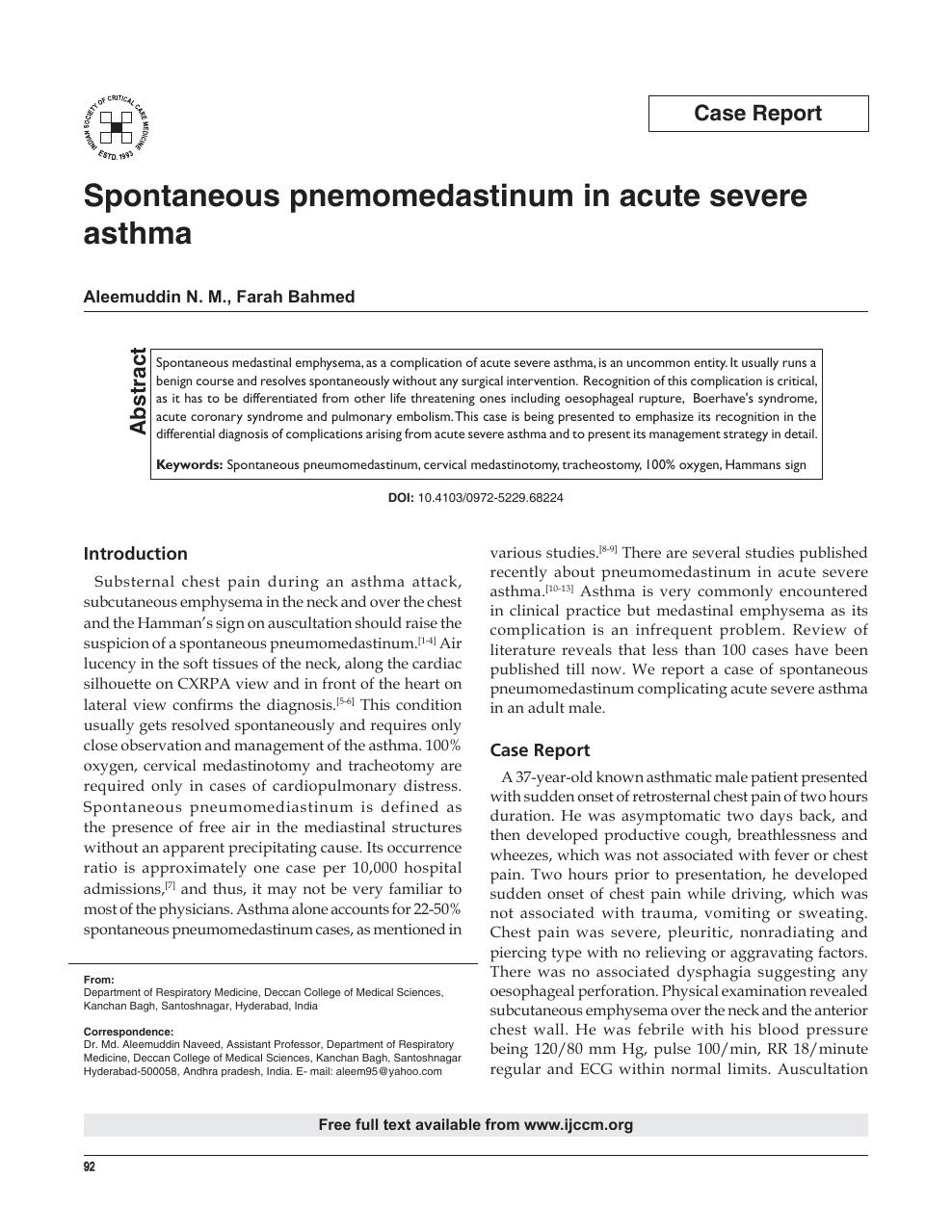 Spontaneous pnemomedastinum in acute severe asthma – topic