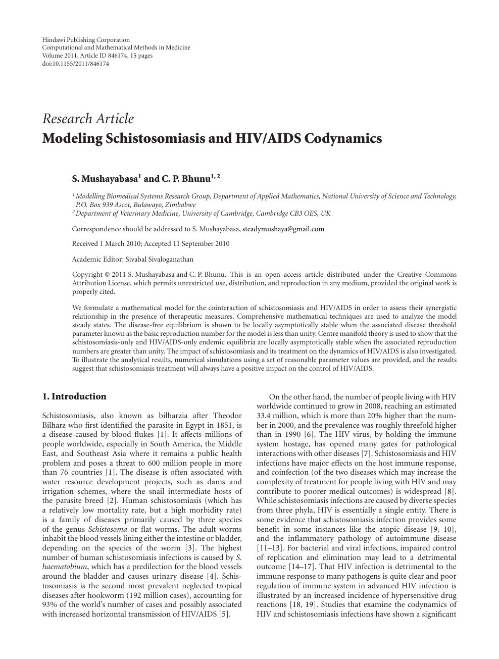 modeling schistosomiasis and hivaids codynamics  topic of
