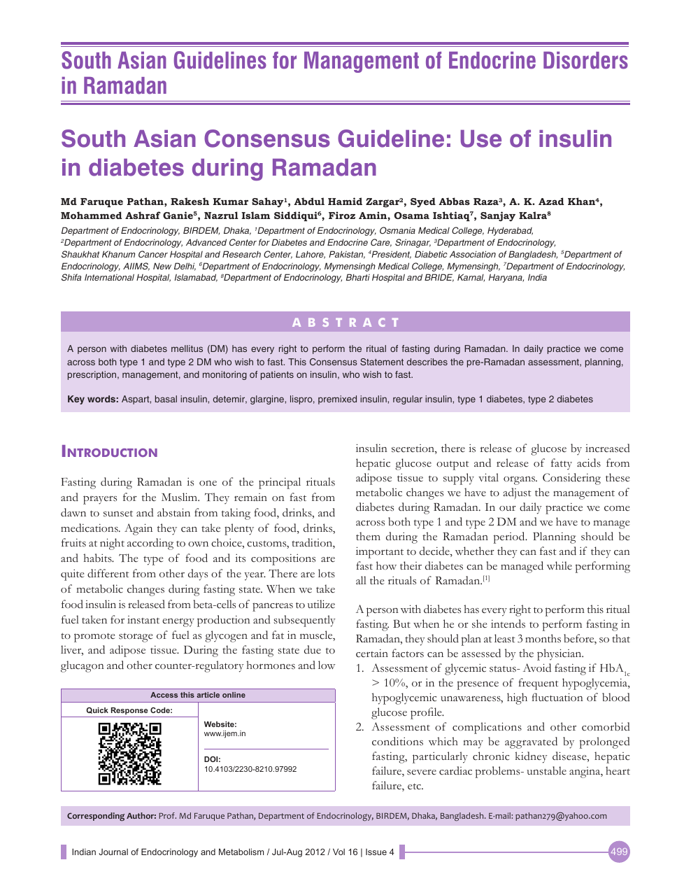 South Asian Consensus Guideline: Use of insulin in diabetes