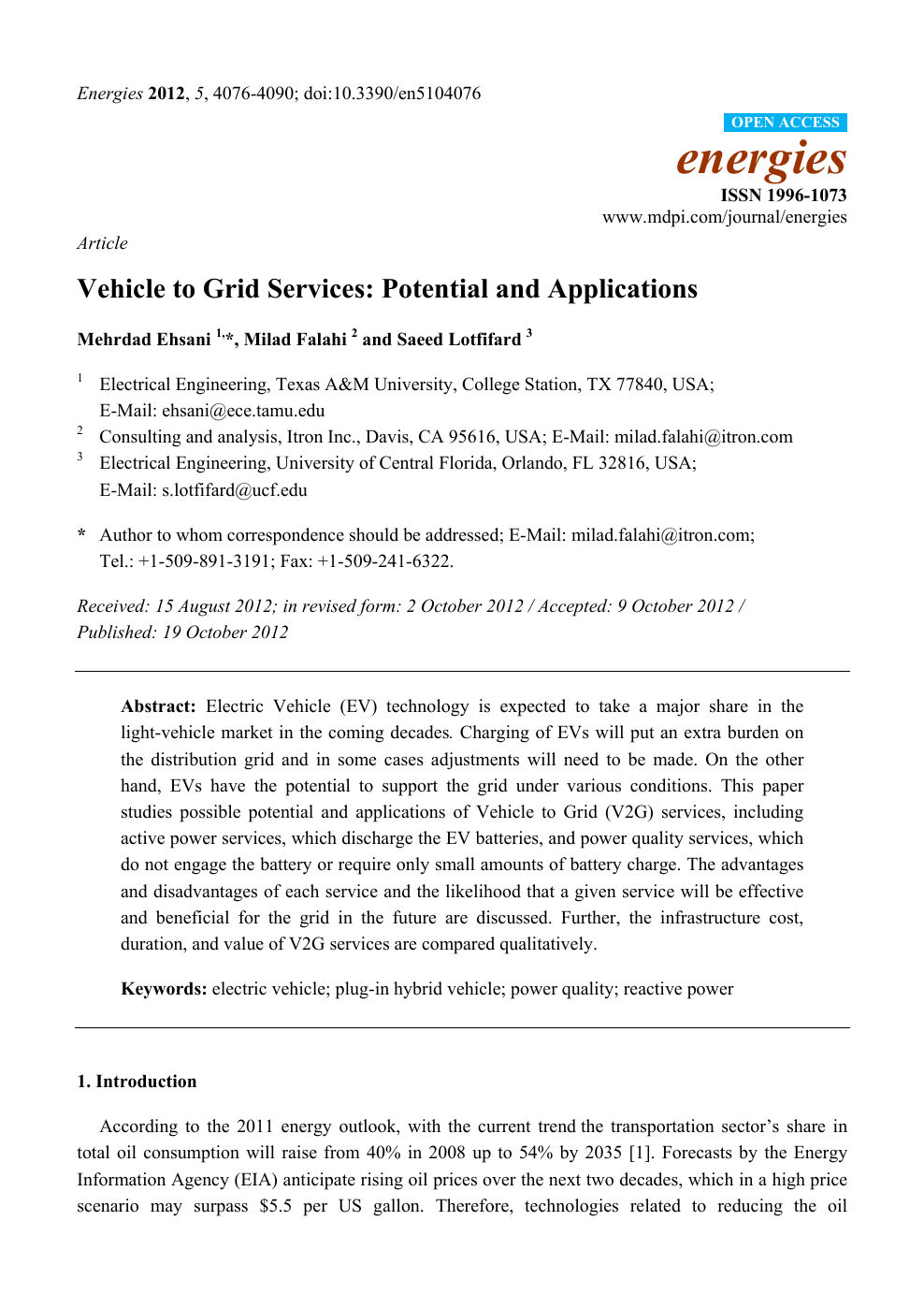 Vehicle to Grid Services: Potential and Applications – topic