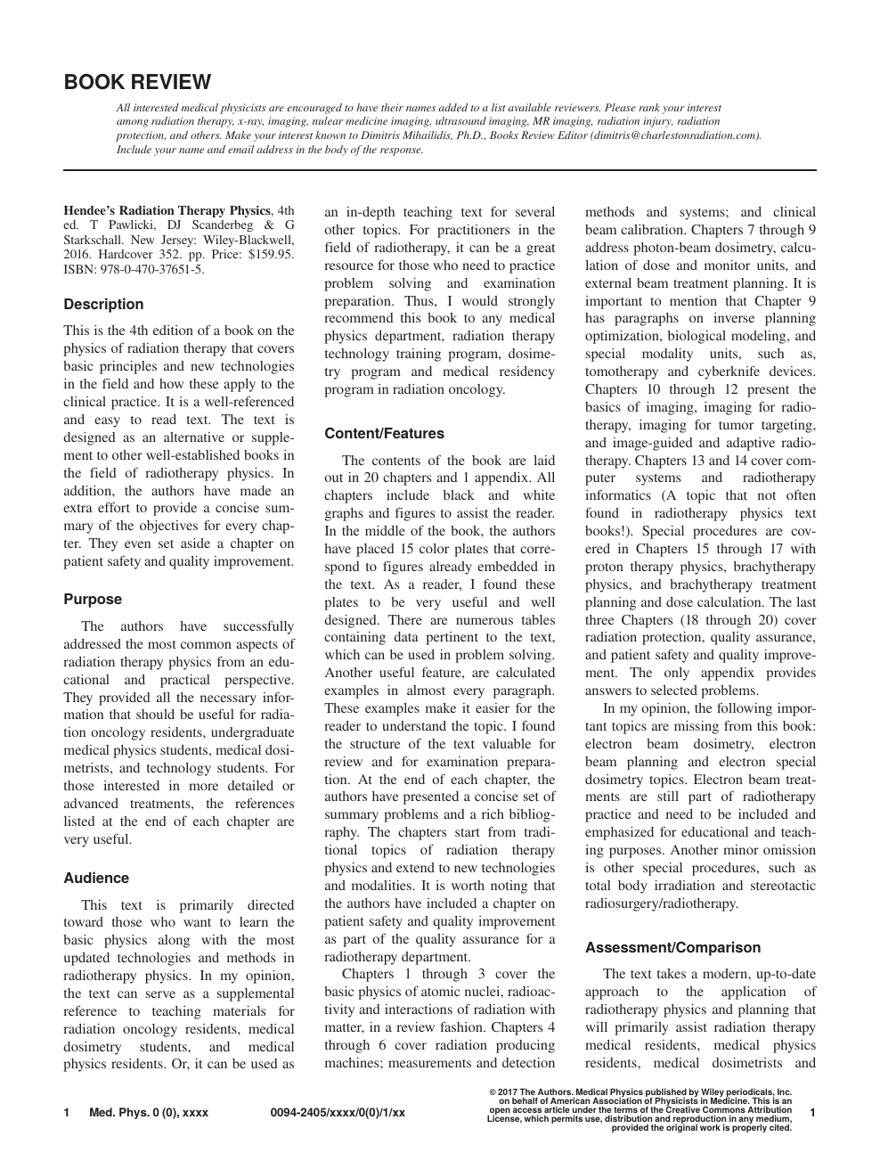 Hendee's Radiation Therapy Physics, 4th ed  TPawlicki, DJScanderbeg