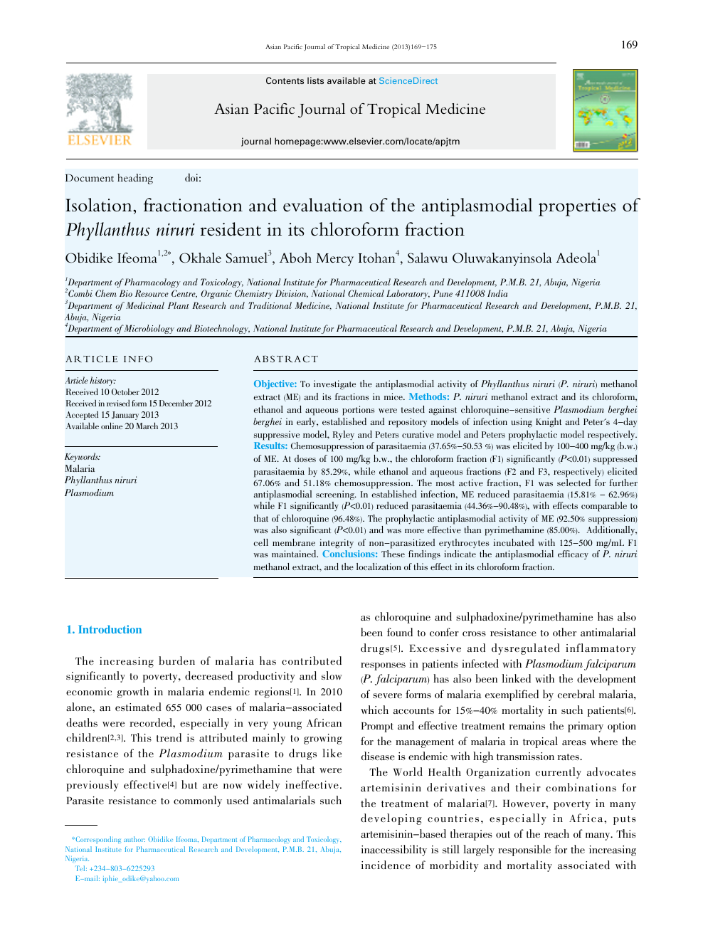 Isolation, fractionation and evaluation of the antiplasmodial