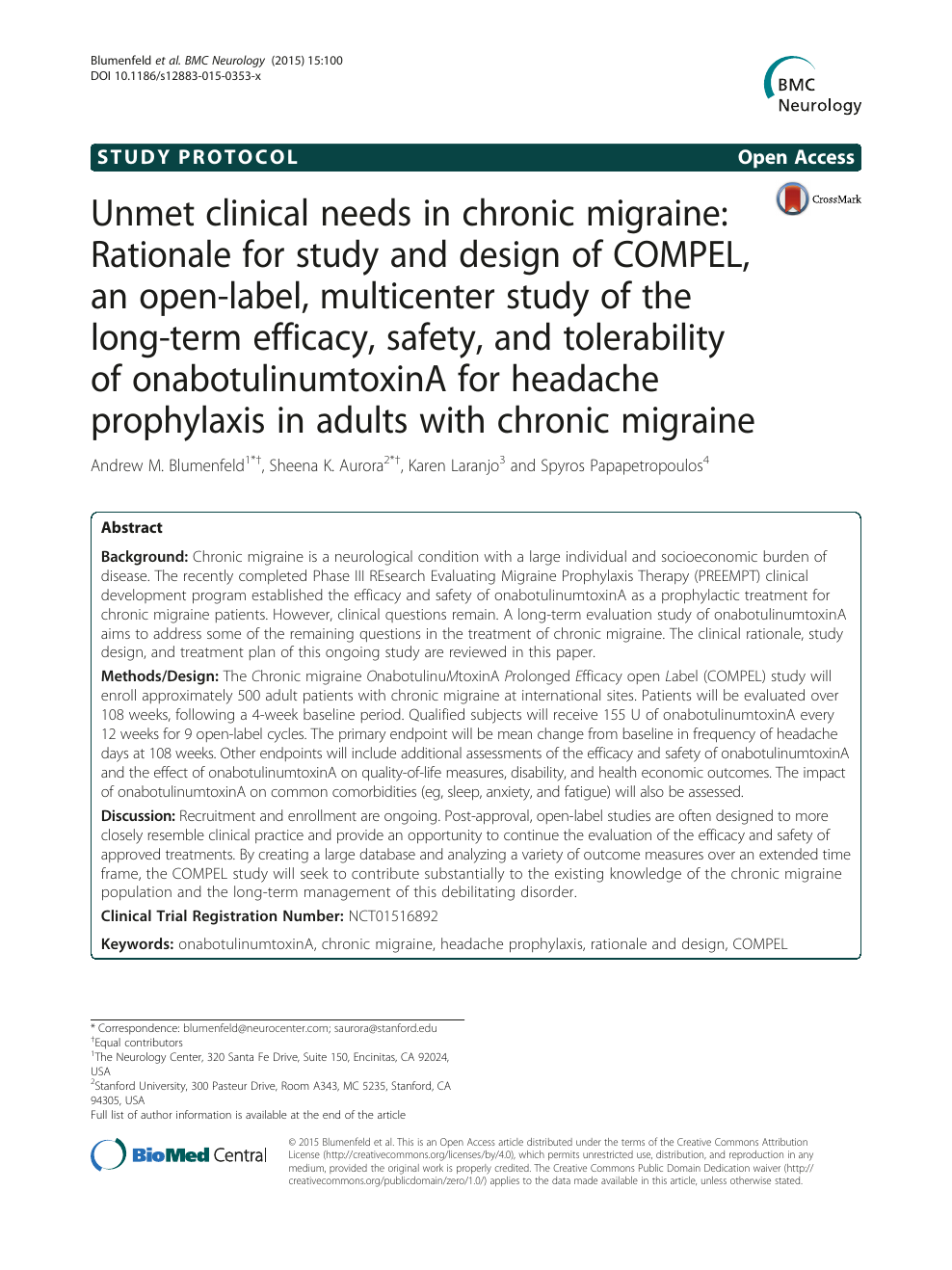 Unmet clinical needs in chronic migraine: Rationale for study and