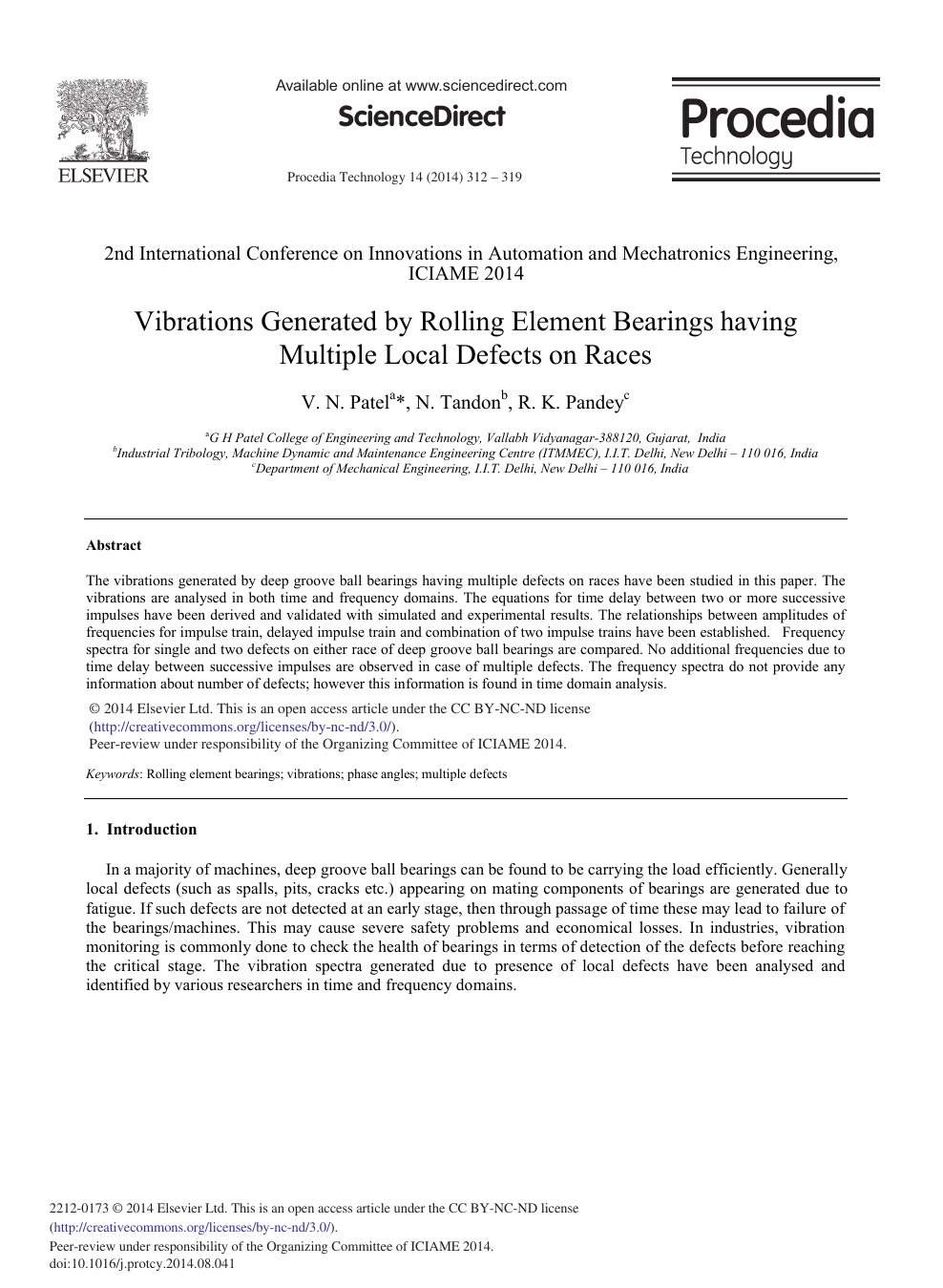 Vibrations Generated by Rolling Element Bearings having