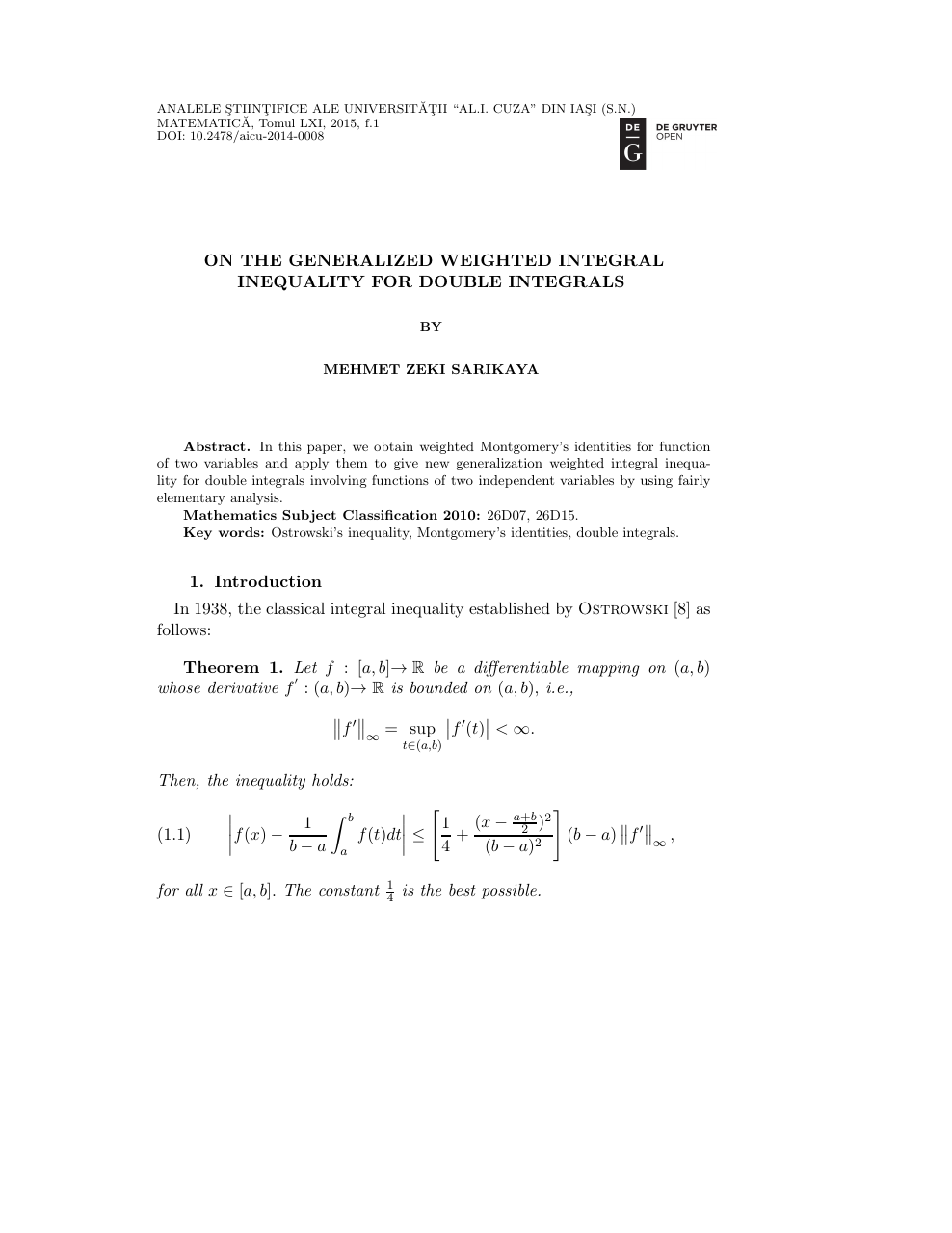 On the Generalized Weighted Integral Inequality for Double