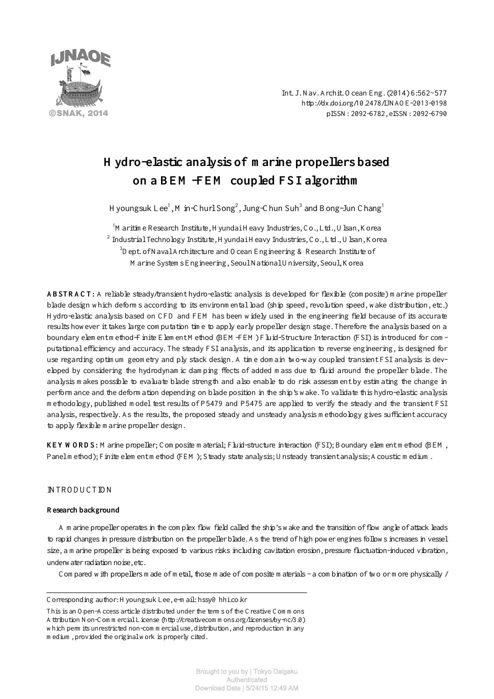 Hydro-elastic analysis of marine propellers based on a BEM