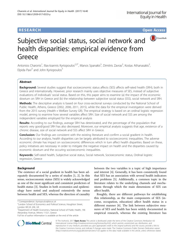 Subjective social status, social network and health