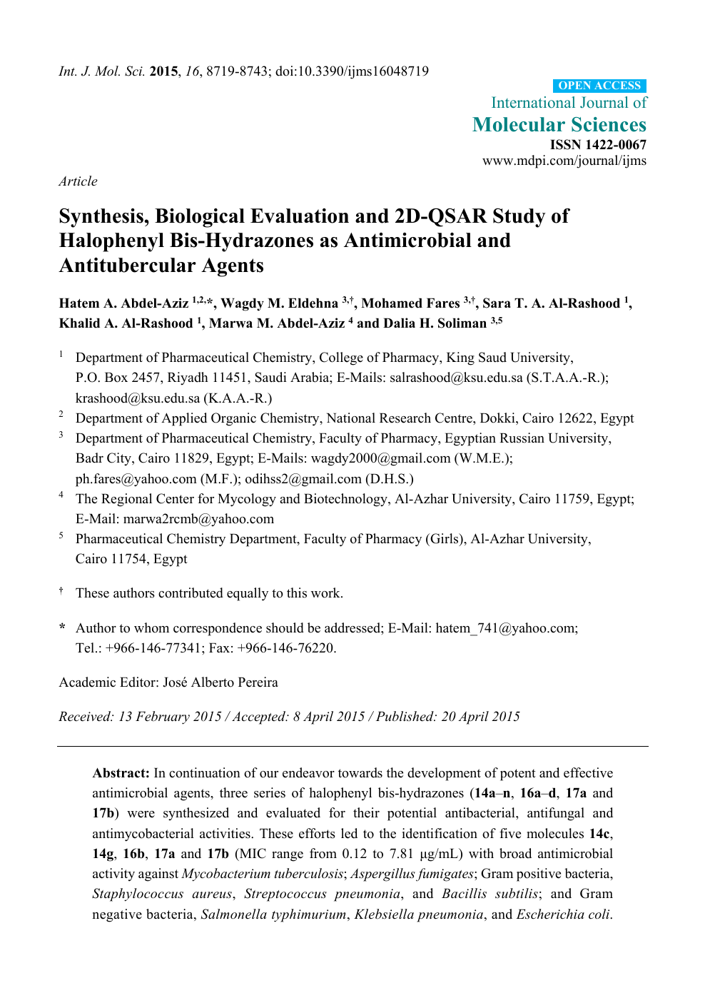 Synthesis, Biological Evaluation and 2D-QSAR Study of