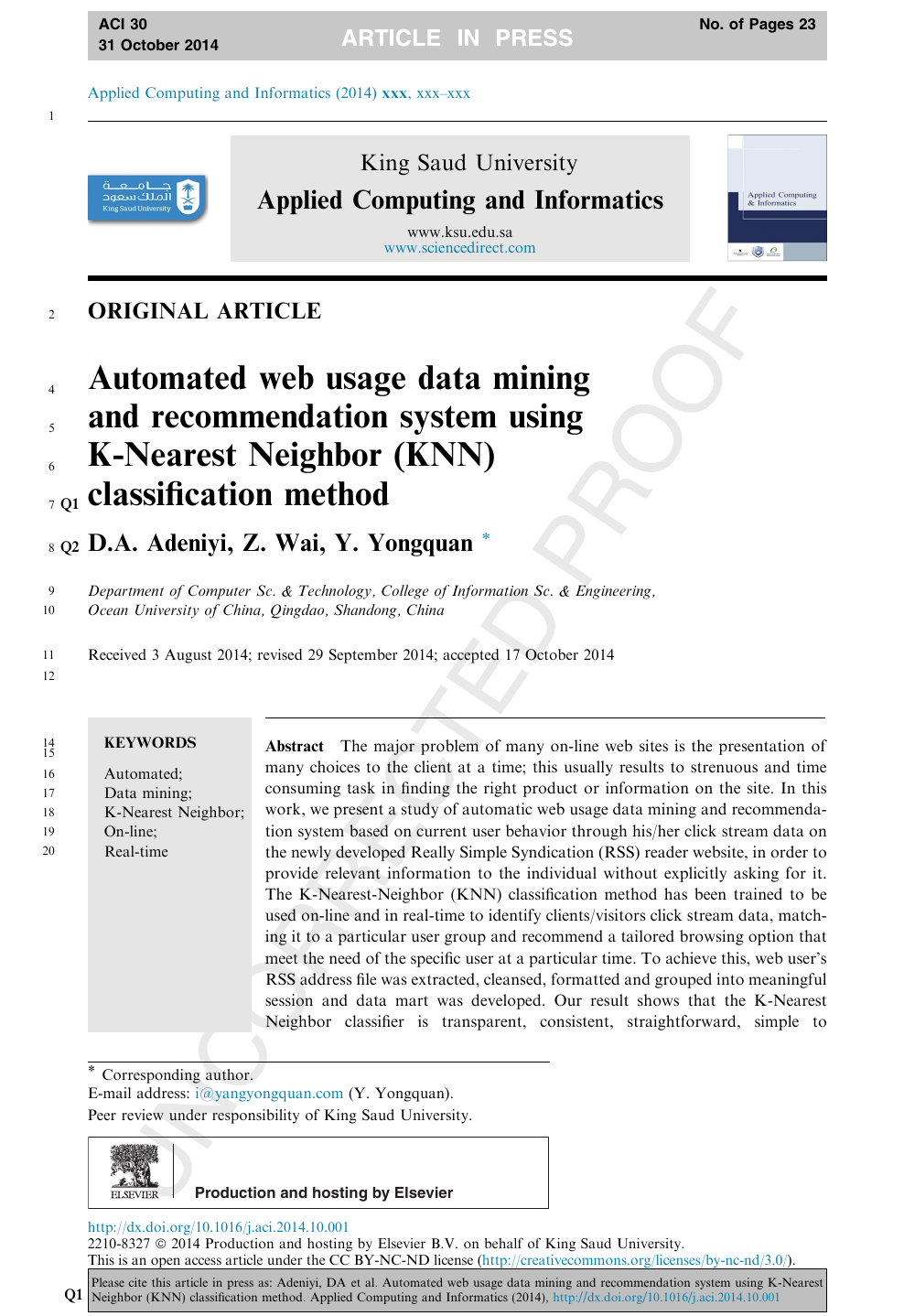 Automated web usage data mining and recommendation system