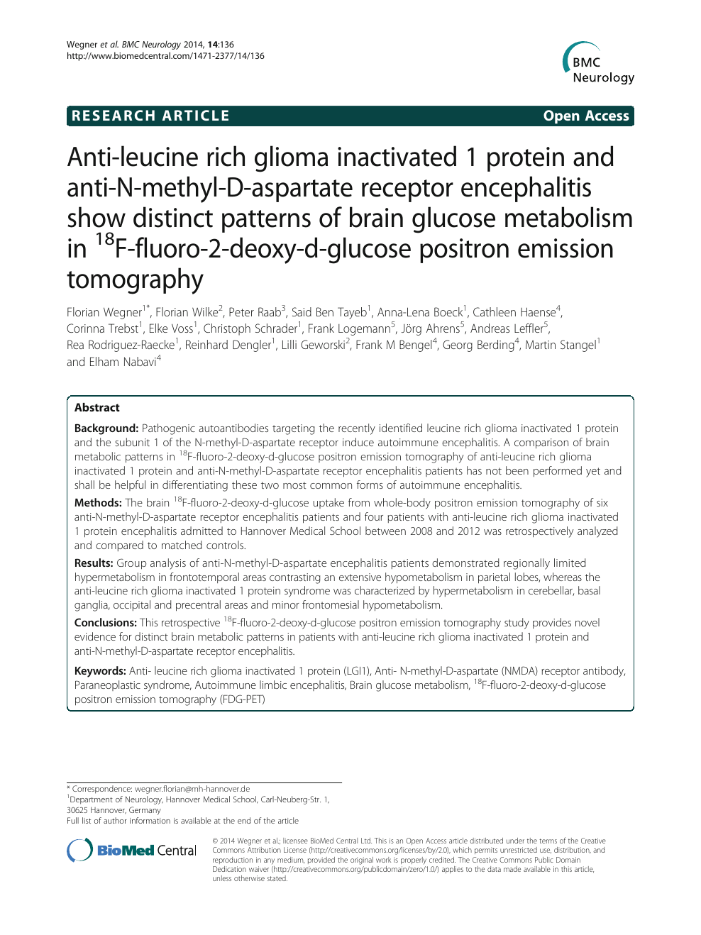 Anti-leucine rich glioma inactivated 1 protein and anti-N-methyl-D