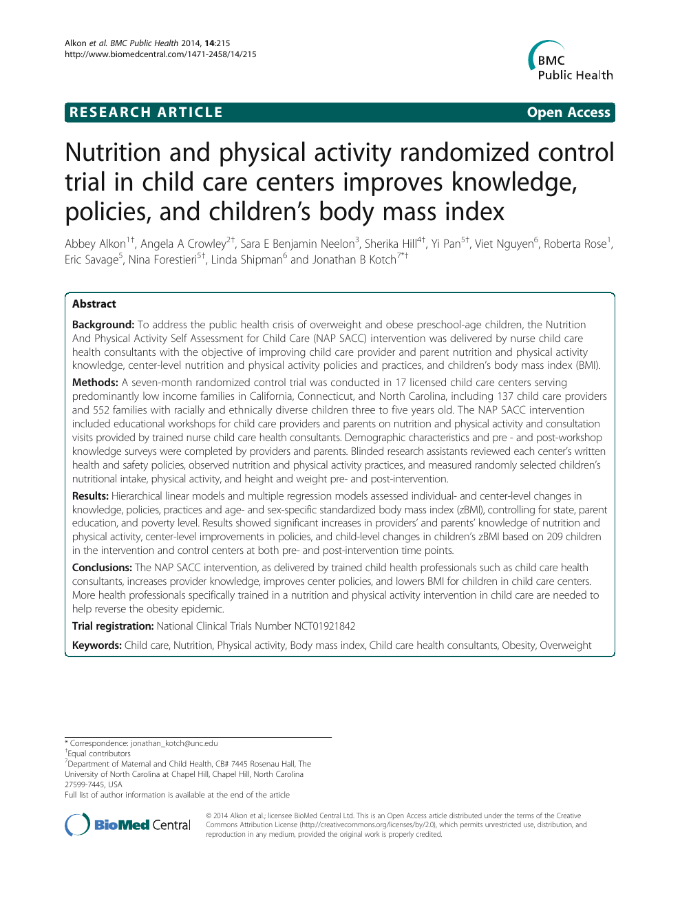 Nutrition and physical activity randomized control trial in