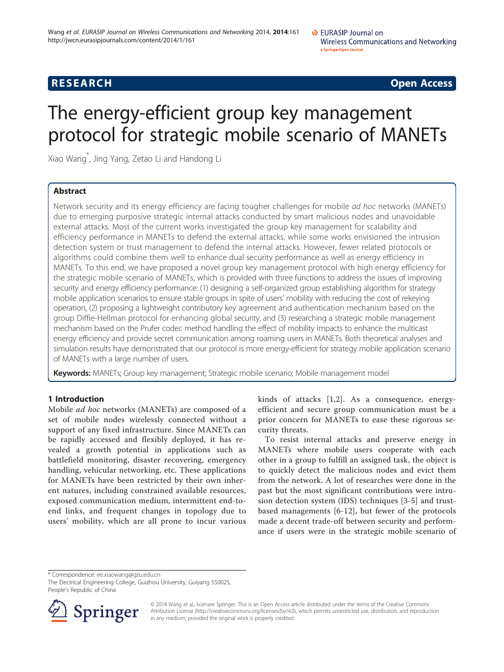 The energy-efficient group key management protocol for