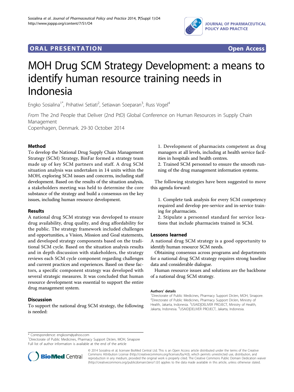 MOH Drug SCM Strategy Development: a means to identify human