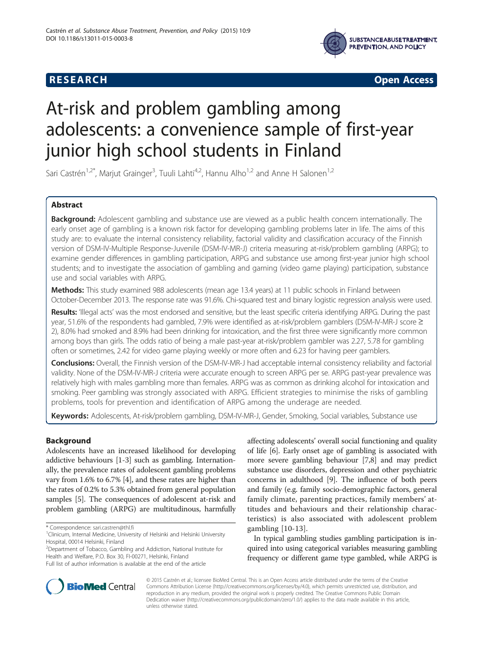 gambling addiction research papers