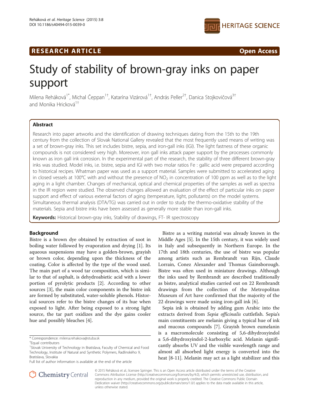 Study of stability of brown-gray inks on paper support