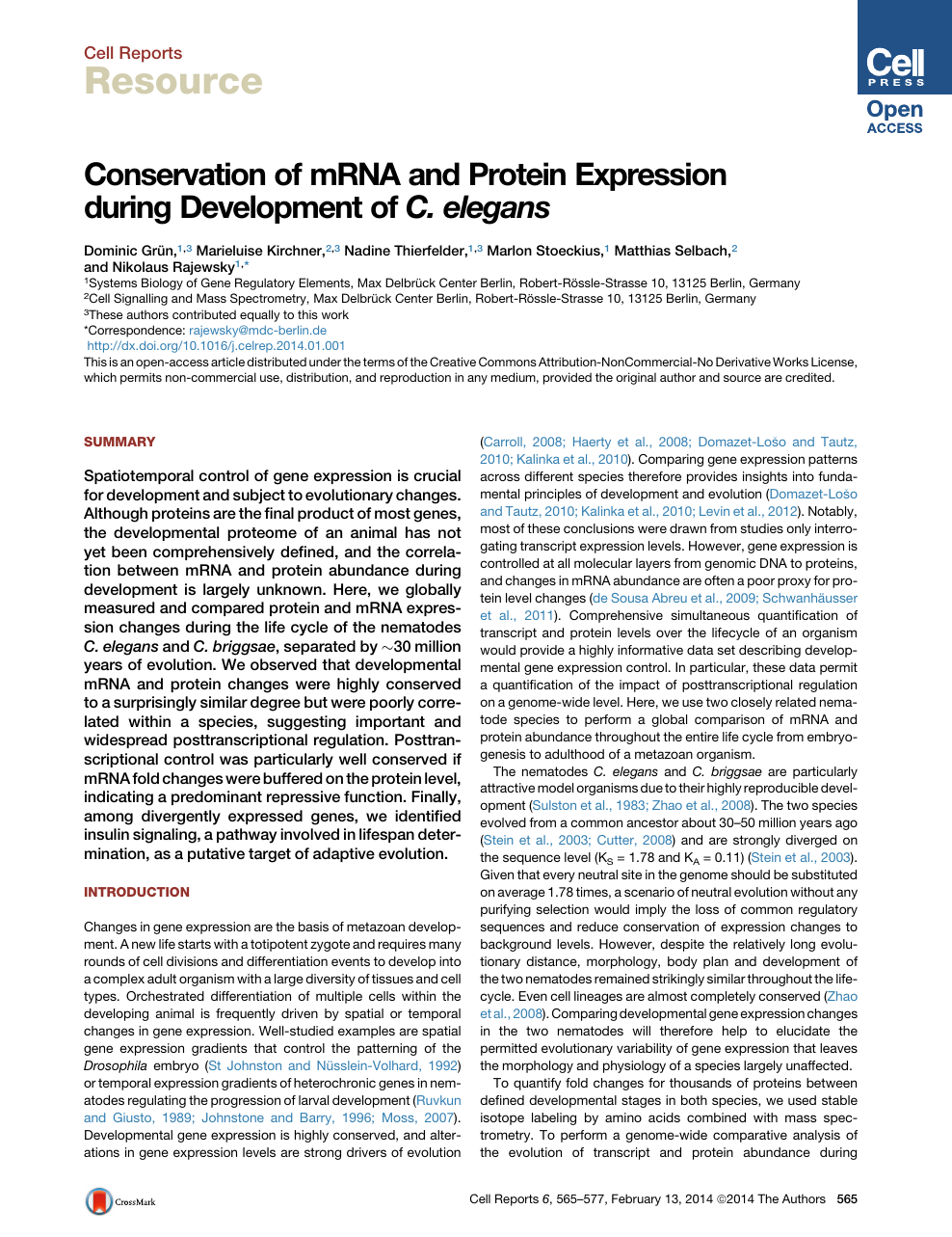 Conservation of mRNA and Protein Expression during Development of C