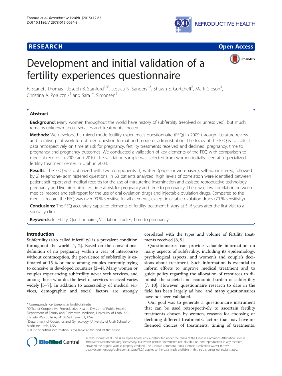 Development and initial validation of a fertility