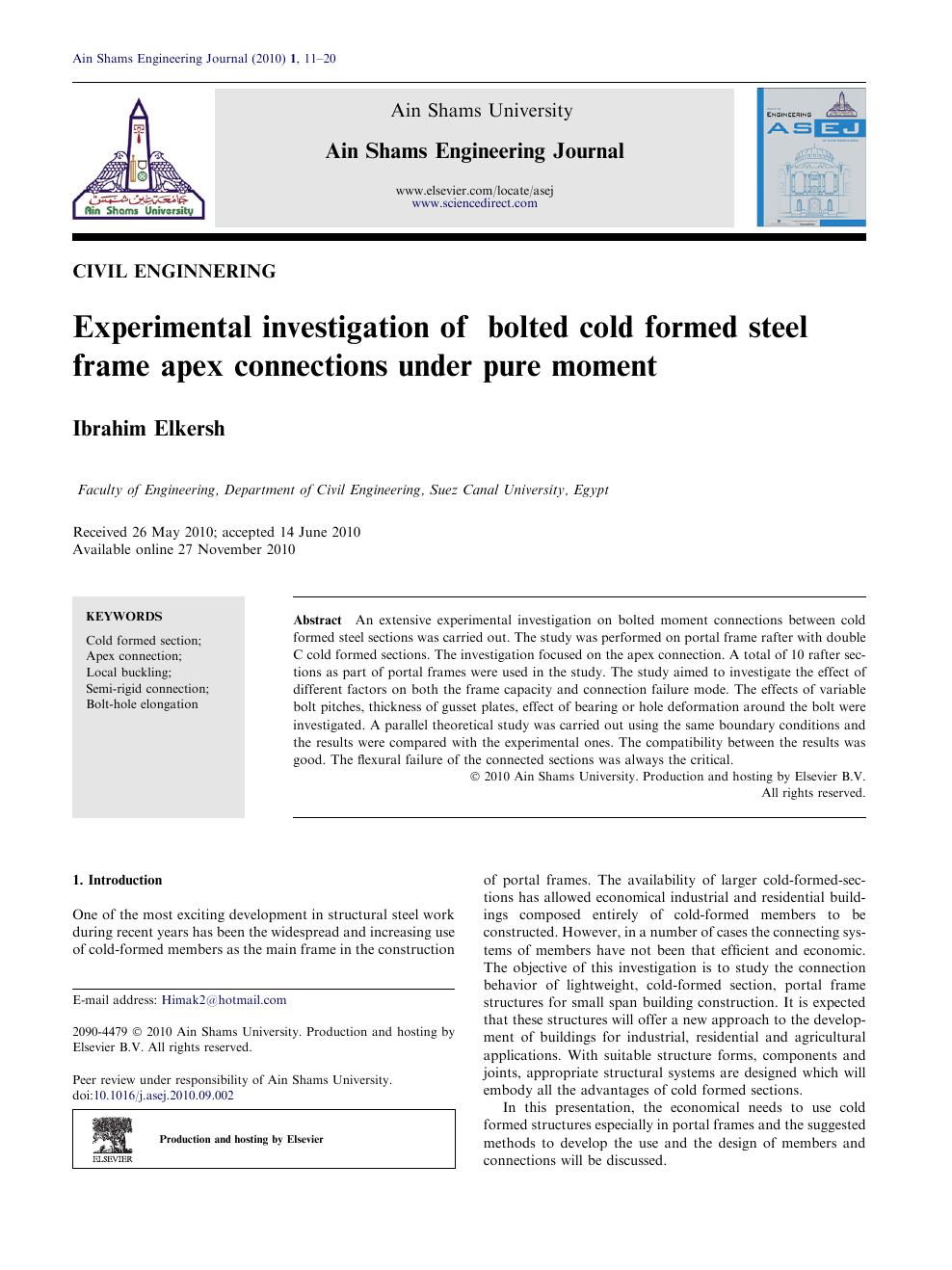 Experimental investigation of bolted cold formed steel frame apex