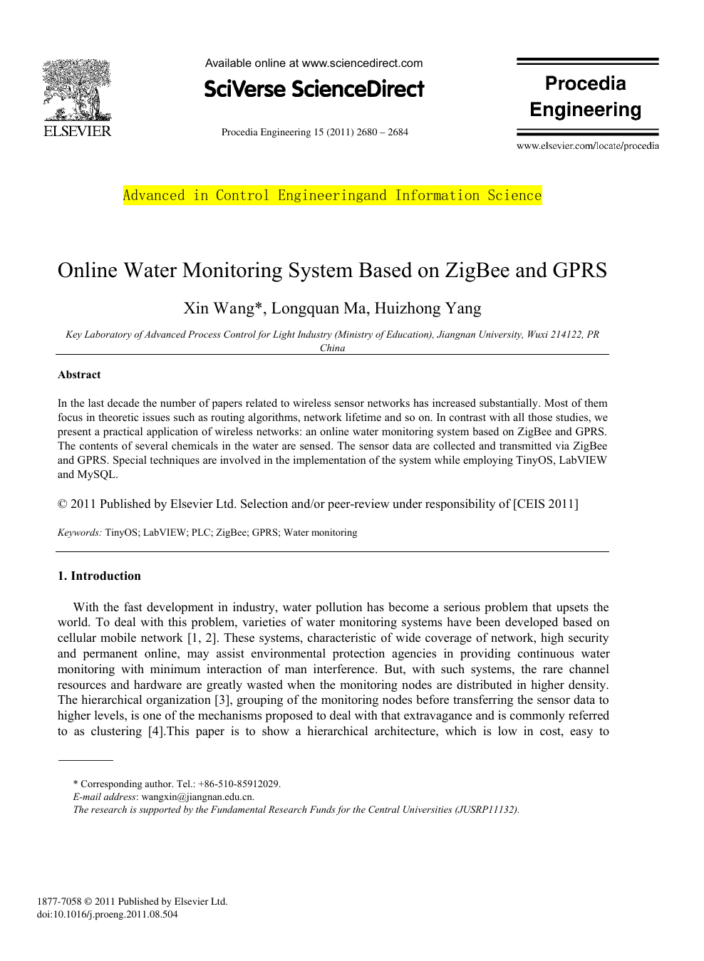 Online Water Monitoring System Based on ZigBee and GPRS – topic of