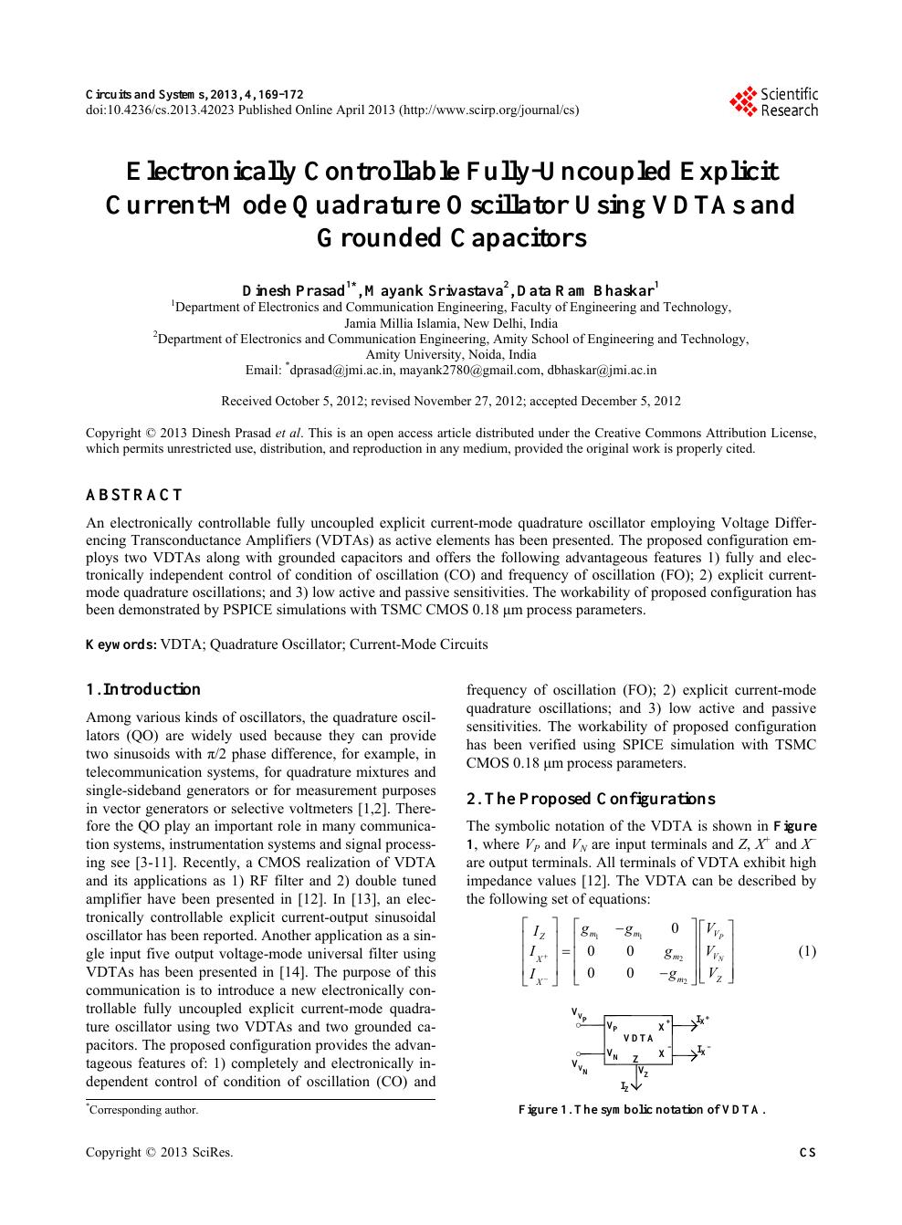Quadrature Sinewave Oscillator
