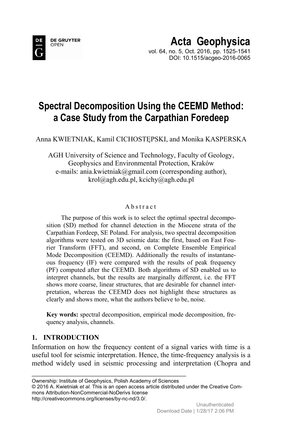 Spectral Decomposition Using the CEEMD Method: A Case Study from the