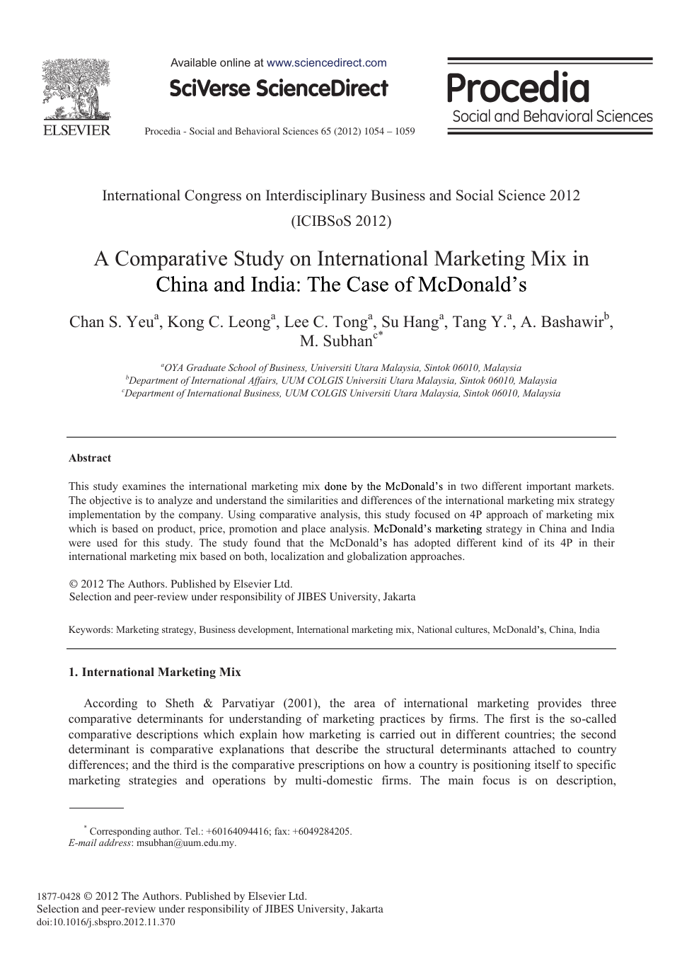 A Comparative Study on International Marketing Mix in China and